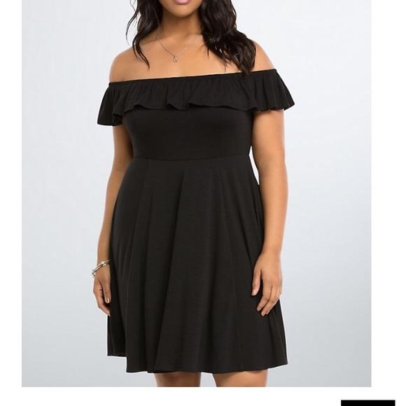 torrid Dresses & Skirts - Torrid Ruffle Off Shoulder Black Dress 2X 18/20